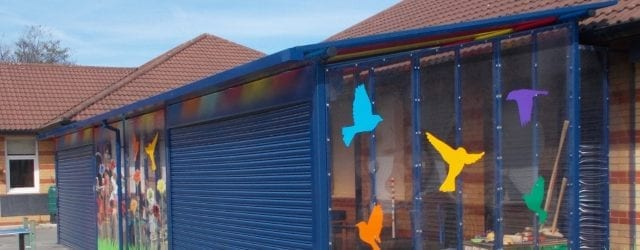 Enclosed canopy we made for Monksdown Primary School