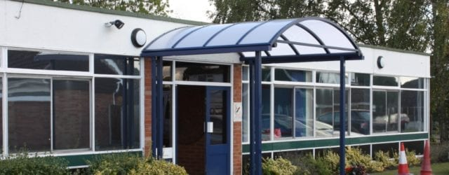Entrance canopy we designed for Burlish Park Primary School