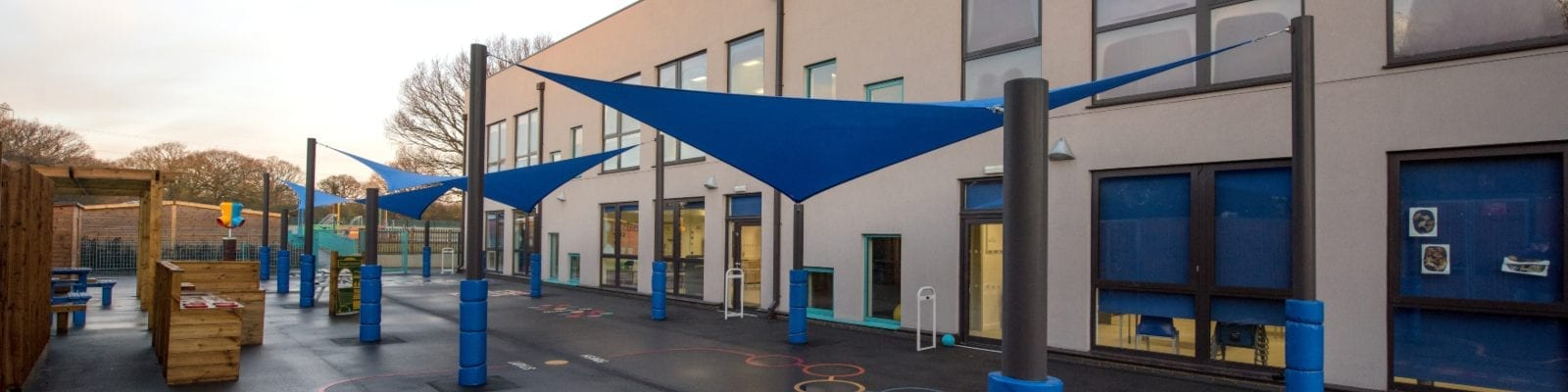 Fabric shade sails we made for Glenwood School