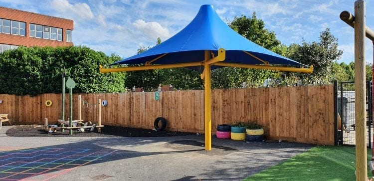 Blue fabric umbrella canopy fitted at Charles Darwin Primary School