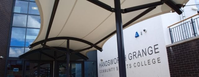 Fabric walkway canopy we designed for Handsworth Grange College