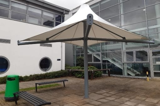 Fabric umbrella shelter we made for The Education Village
