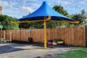 Fabric umbrella shelter we made for Charles Darwin Primary School