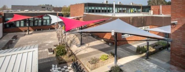 Fabric canopies we designed for Aldersley High School