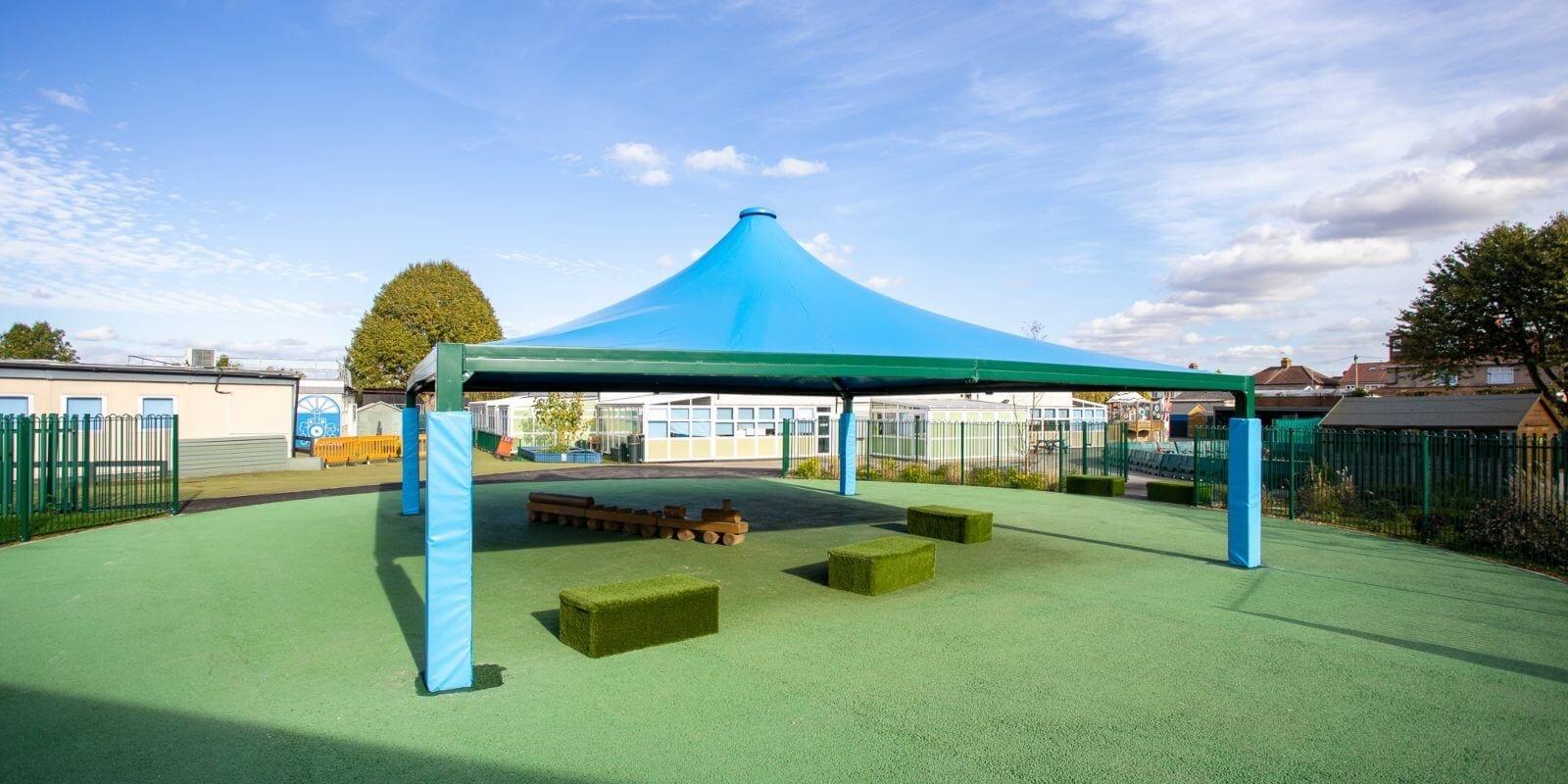 Fabric tepee canopy we designed for Hedgewood School