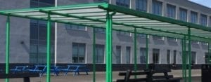 Straight roof canopy we made for Blackpool Aspire Academy