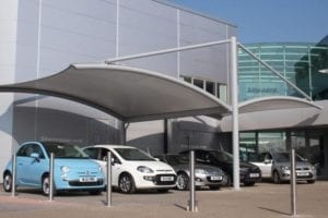 Gullwing Canopy for Car Sales Forecourt