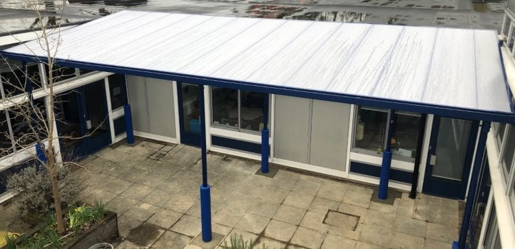 Straight roof playground cover we made for Frogmore Infant School