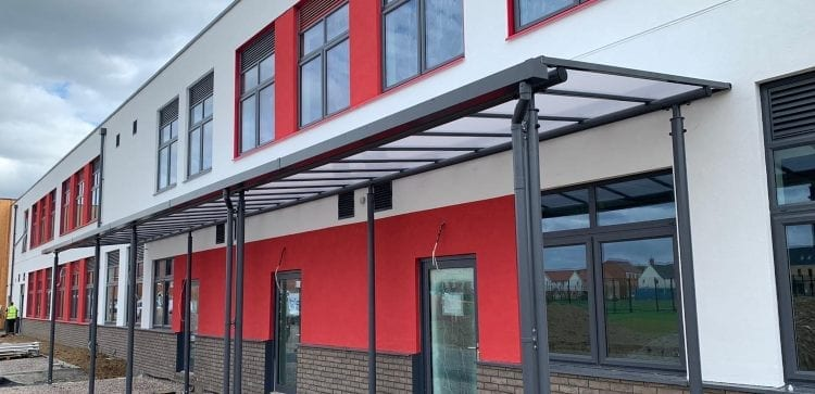 Straight roof shelter we made for Lakelands Primary School