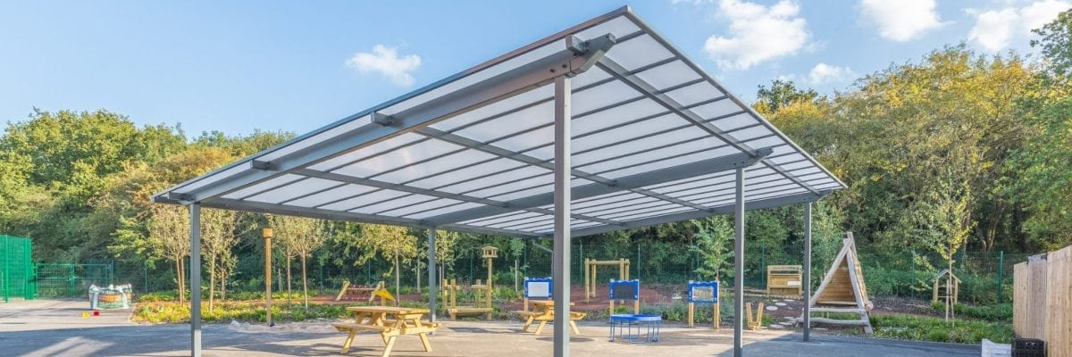 Straight roof shelter we made for Millbrook Primary School
