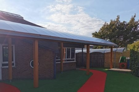 St George's Catholic Primary School Curved Roof Canopy