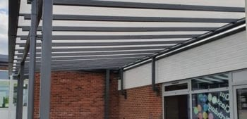 Wall mounted canopy we designed for The Riverside School