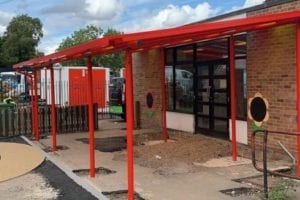Straight roof shelter we installed at Kegworth Primary School