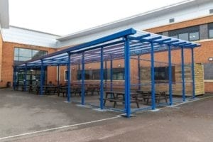 Straight roof canopy we installed at Avon Valley School