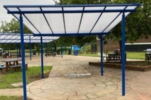 Seating area canopies we made for Stoke High School
