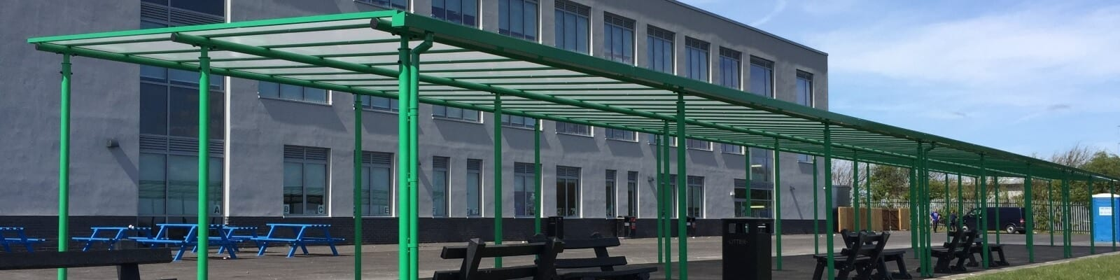 Green canopy we designed for Blackpool Aspire Academy