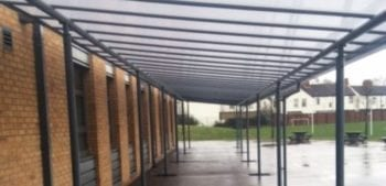 Covered walkway shelter we fitted at Boulevard Academy