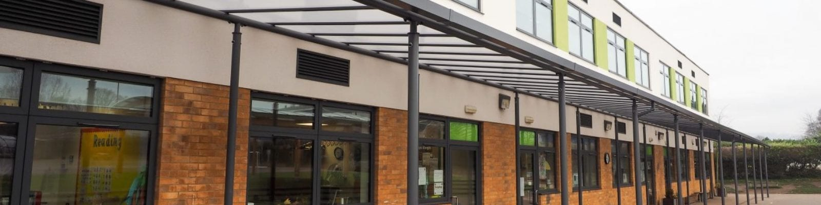 Straight roof canopy we made for Lime Tree Primary School