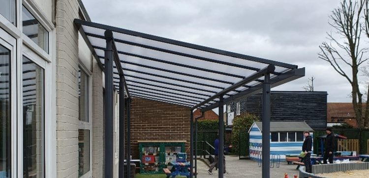 Straight roof play area canopy we made for Warley Primary School