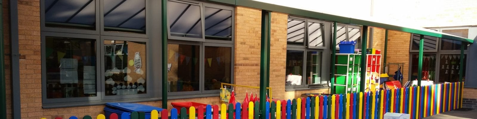 Straight roof shelter we installed at Wheelers Lane Primary School