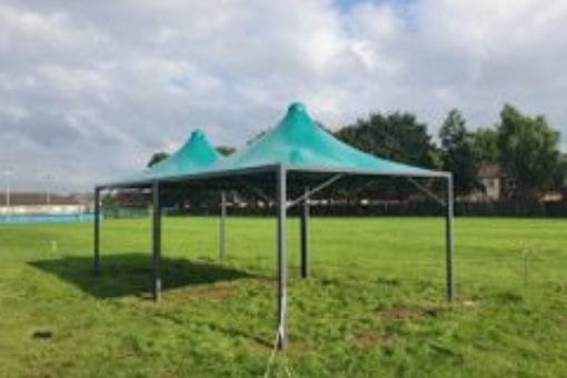 Green fabric shelter we made for Bowesfield Primary School