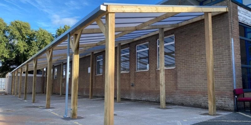 Wooden canopy we made for Handsworth Wood Girls School
