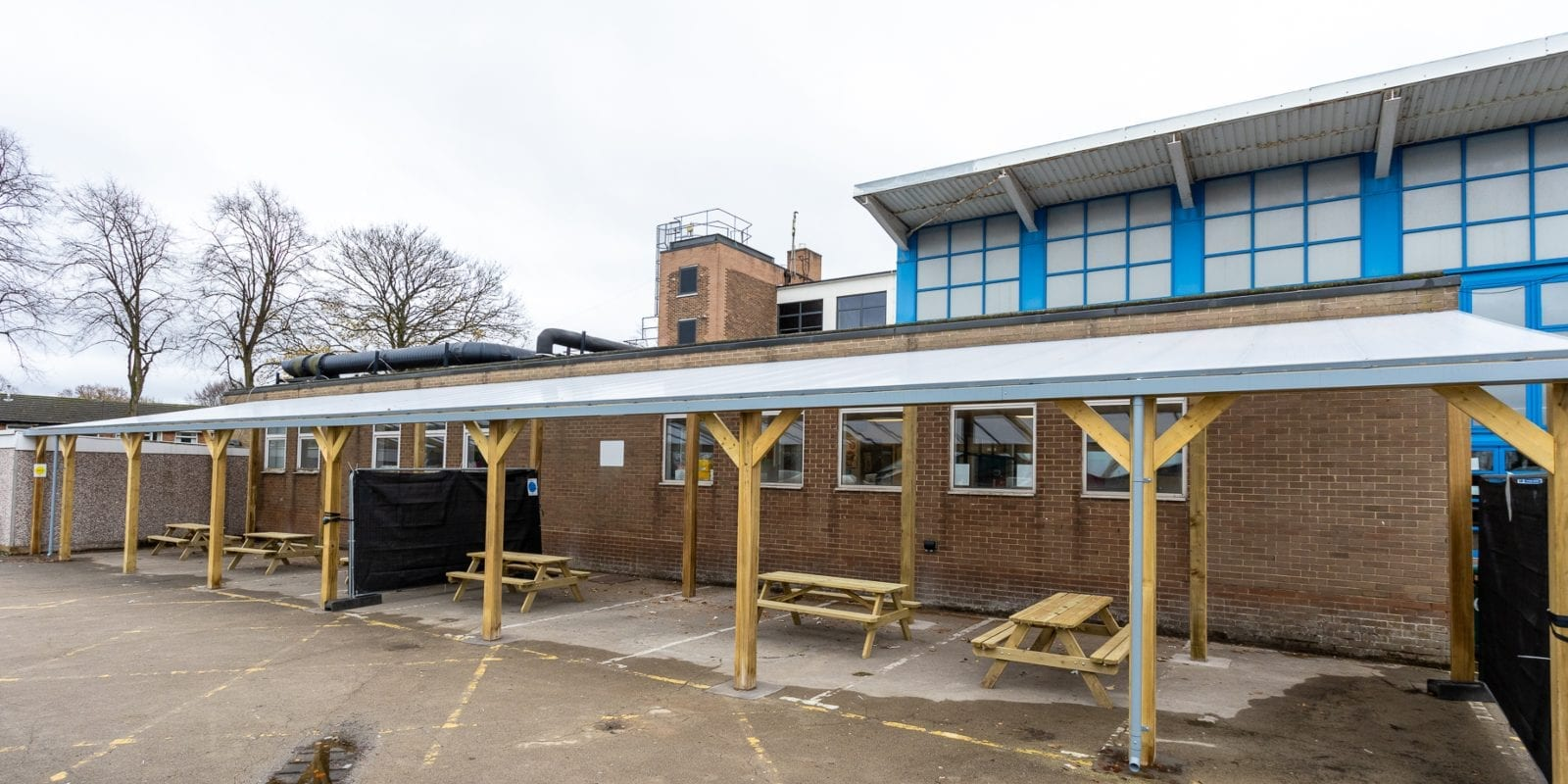 Timber straight roof shelter we designed for Handsworth Wood Girls' Academy