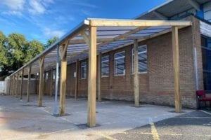 Timber frame shelter we designed for King Edward VI Handsworth Wood Girl's Academy