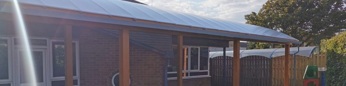 Wooden canopy we made for St George's Catholic Primary School
