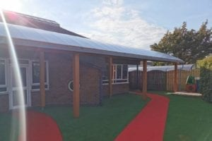 Timber canopy we designed for St George's Catholic Primary School