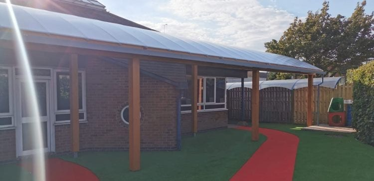 Playground shelter we made for St George's Catholic Primary School