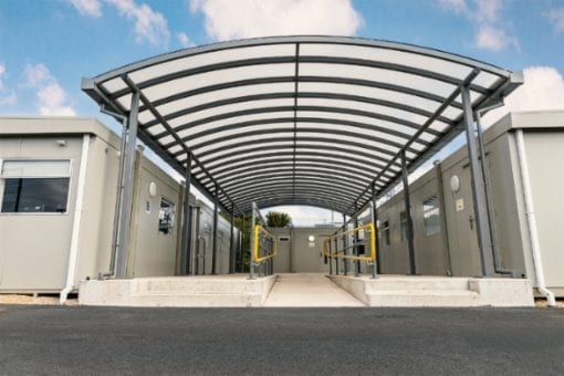 Walkway canopy at Wareham Recycling Centre