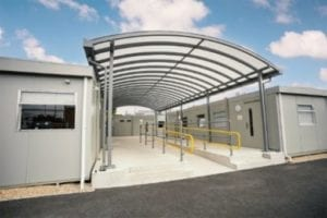 Walkway shelter we manufactured for Wareham Recycling Centre