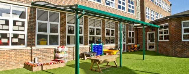 Wave roof play area canopy we made for Brighton Junior School