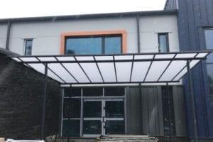 Straight roof canopy we made for Ysgol Y Garnedd