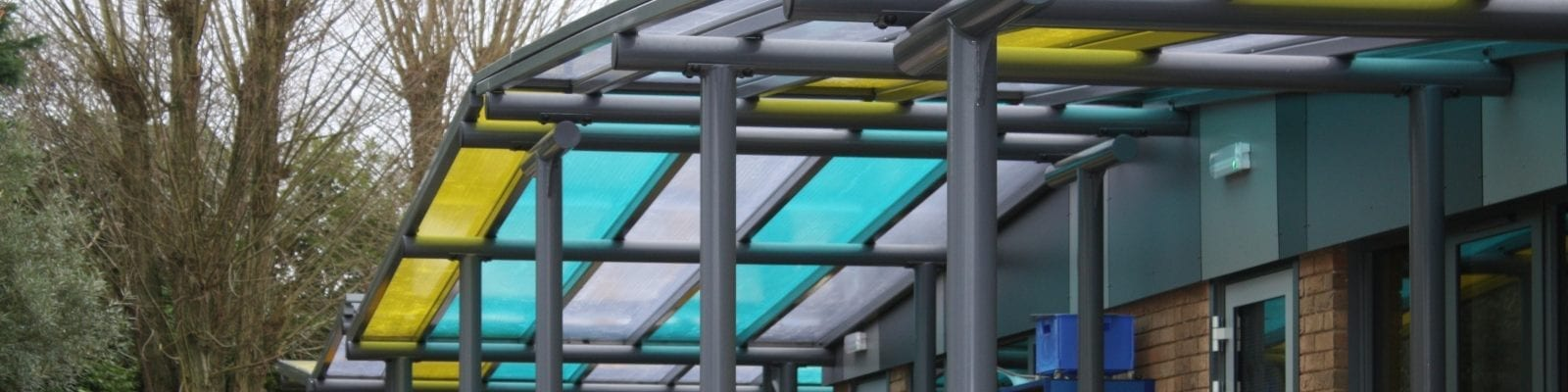 Colourful canopies we made for Oundle Primary School