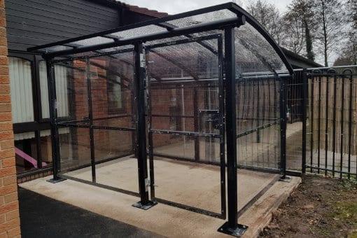 Secure buggy shelter we designed for Blakenhall Family Centre