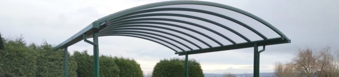 Curved roof canopy we designed for Hawksworth School