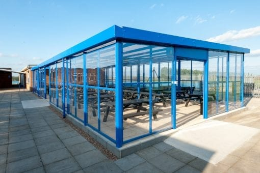 Enclosed dining shelter we designed for Branston Community Academy