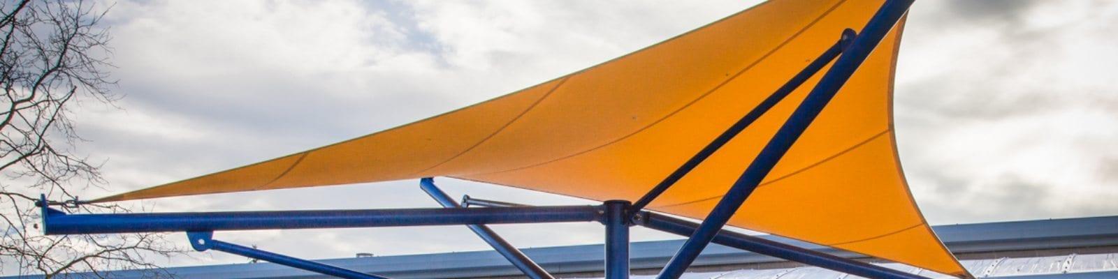 Fabric yellow canopy we designed for Paulton Junior School