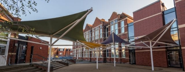 Fabric canopies we designed for Milton Park Primary School