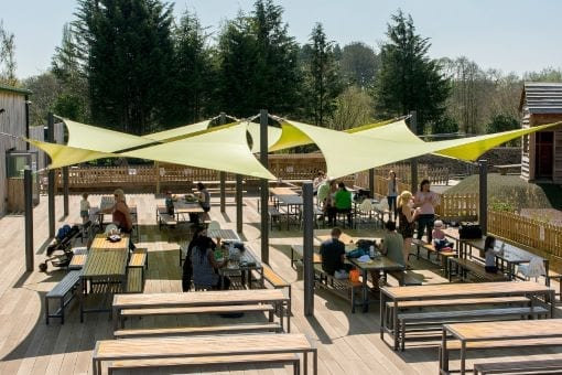Green shade sails we installed at Chobham Adventure Farm