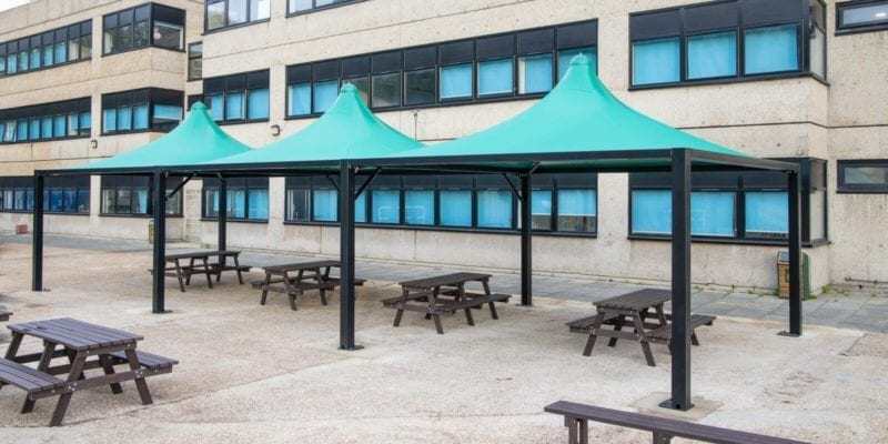 Green tepee canopies we made for Shooters Hill College