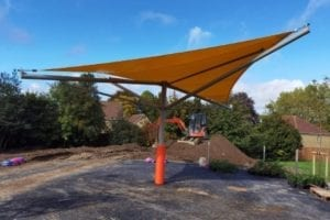 Orange Fabric Shelter we made for The Austen Academy