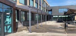 Straight roof canopy we designed for Hessle High School