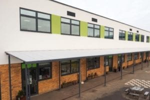 Straight roof canopy we designed for Lime Tree School