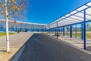 Straight roof shelter we designed for Haberdashers Aske Knights Academy