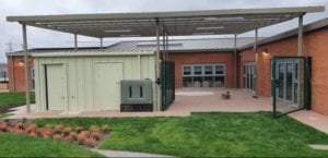 Straight roof canopy we designed for Spateston Childcare Centre