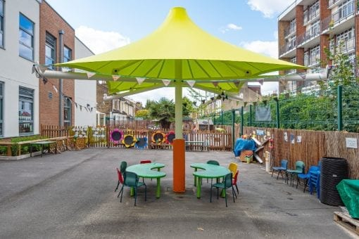 Umbrella canopy we designed for George Mitchell Primary School