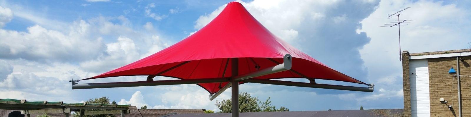 Umbrella canopy we designed for Someries Junior School